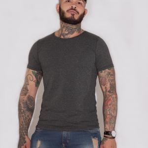 Camiseta básica Gris jaspe oscuro